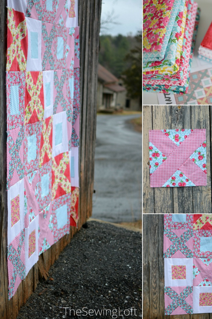 Breeze By quilt pattern made with Dainty Darling fabric. The pattern is easy to make and great for the beginner.