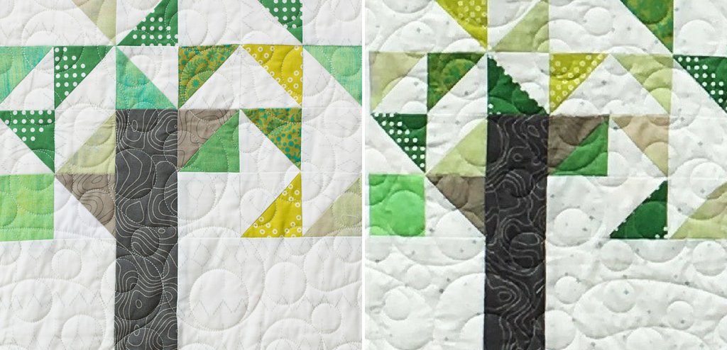 """Grab your left over green fabric scraps and stitch up the Willow Tree quilt block. Block finishes 12"""" square."""