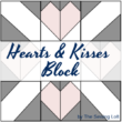 """Hearts & Kisses Quilt Block   12"""" & 6"""" finished patchwork block from The Sewing Loft"""