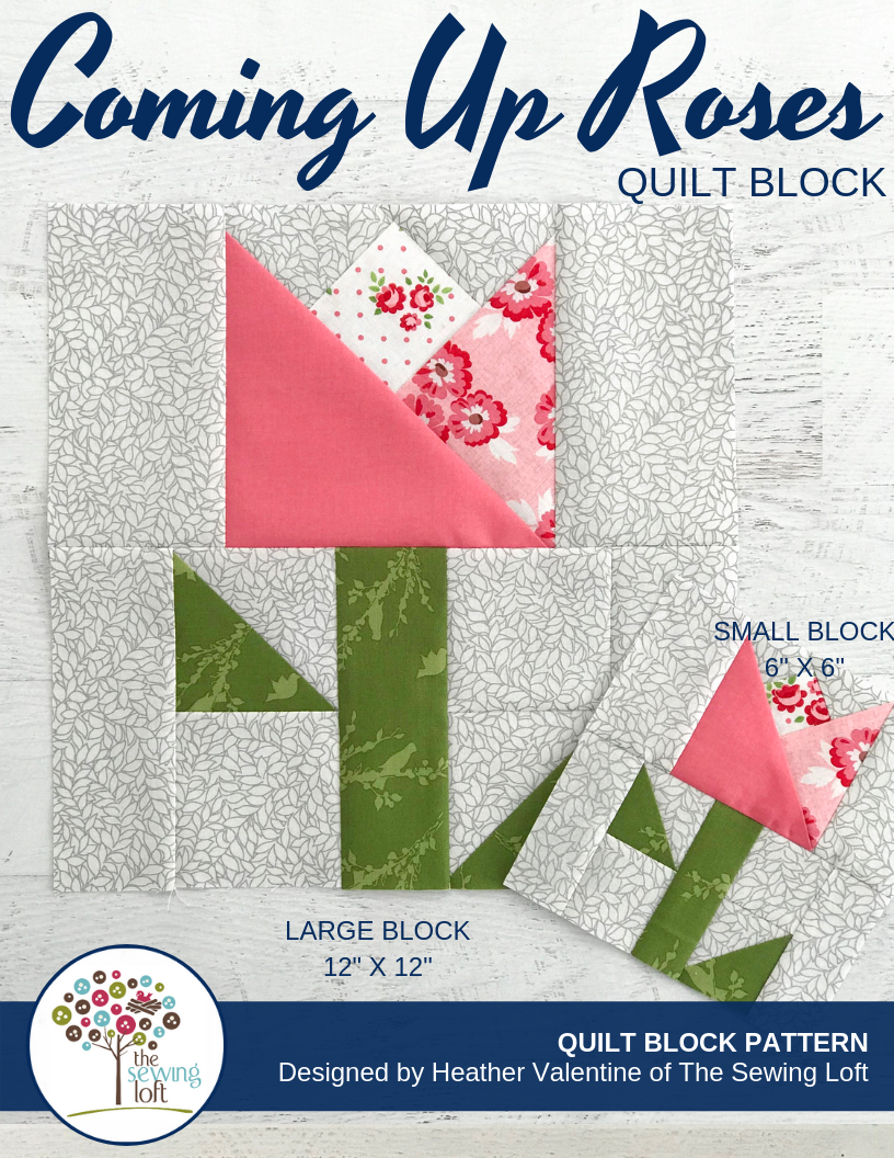 Flower Patchwork Quilt Block Pattern   Coming Up Roses by The Sewing Loft