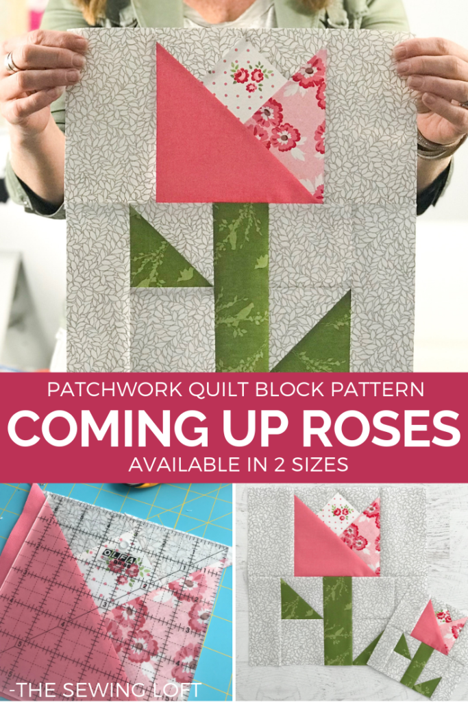 Make this sweet patchwork block today.  Coming Up Roses quilt block is perfect for your quilting library.