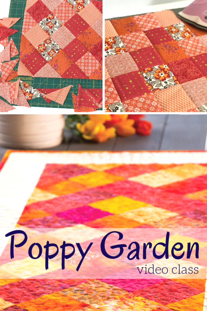 If your scrap pile is filled with one color family, you can easily turn them into a gorgeous table topper with the Poppy Garden Table Runner.