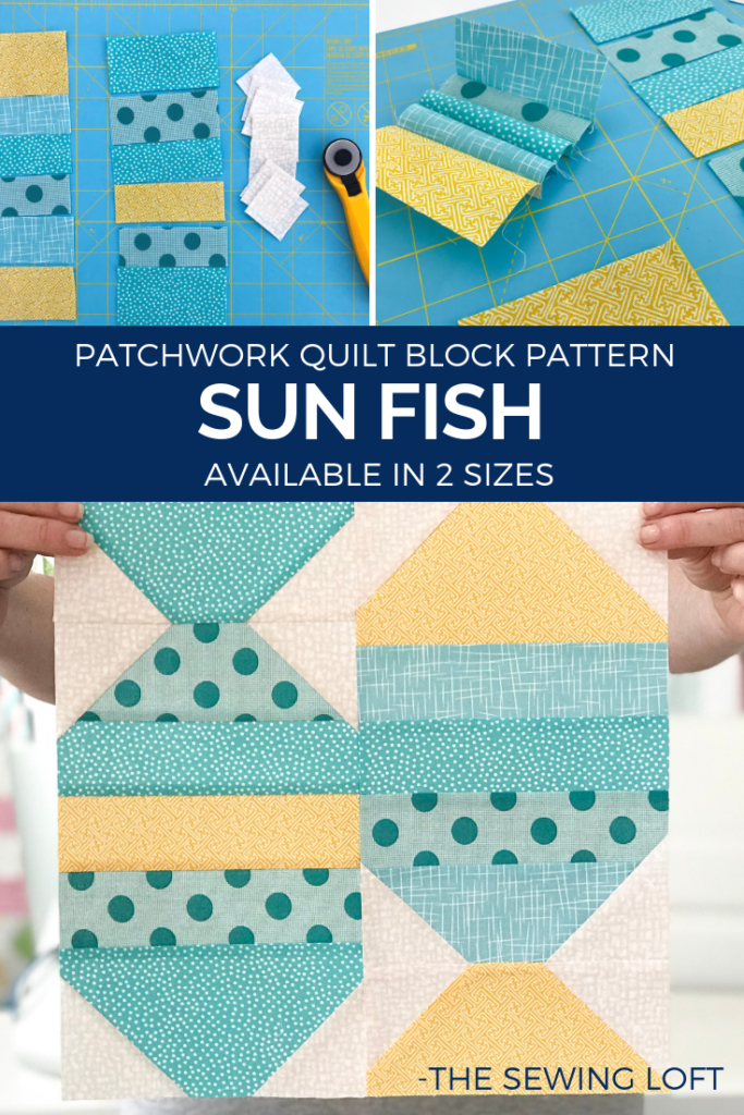 Grab your scraps and stitch up the Sunfish Quilt Block! The block comes in 2 sizes and can be used in many different projects from home decor to quilts.