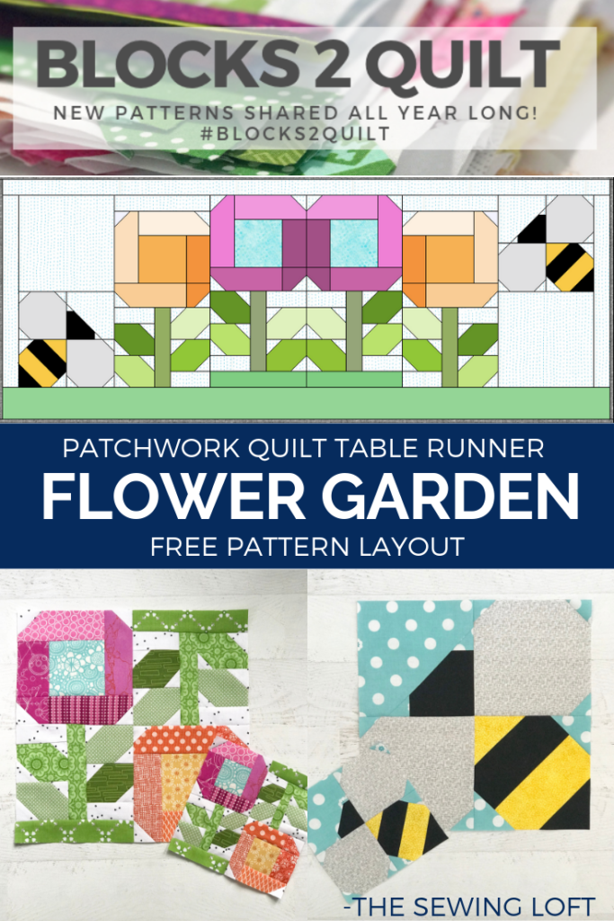 Oh how my garden grows! Grab your favorite blocks and stitched together this Flower Garden Table Runner. Free pattern layout  from The Sewing Loft