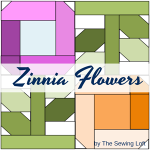 Add a splash of color to your next quilt with the Zinnia Flowers Quilt Block. Pattern includes 2 sizes. Block designed by The Sewing Loft