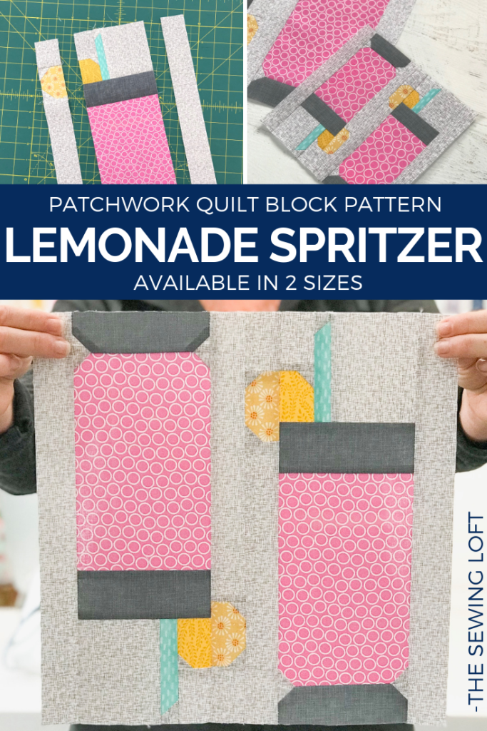 Add the Lemonade Spritzer quilt block to your library and stitch up a dose of summer. This patchwork construction block is simple stitch with smaller parts. The Sewing Loft