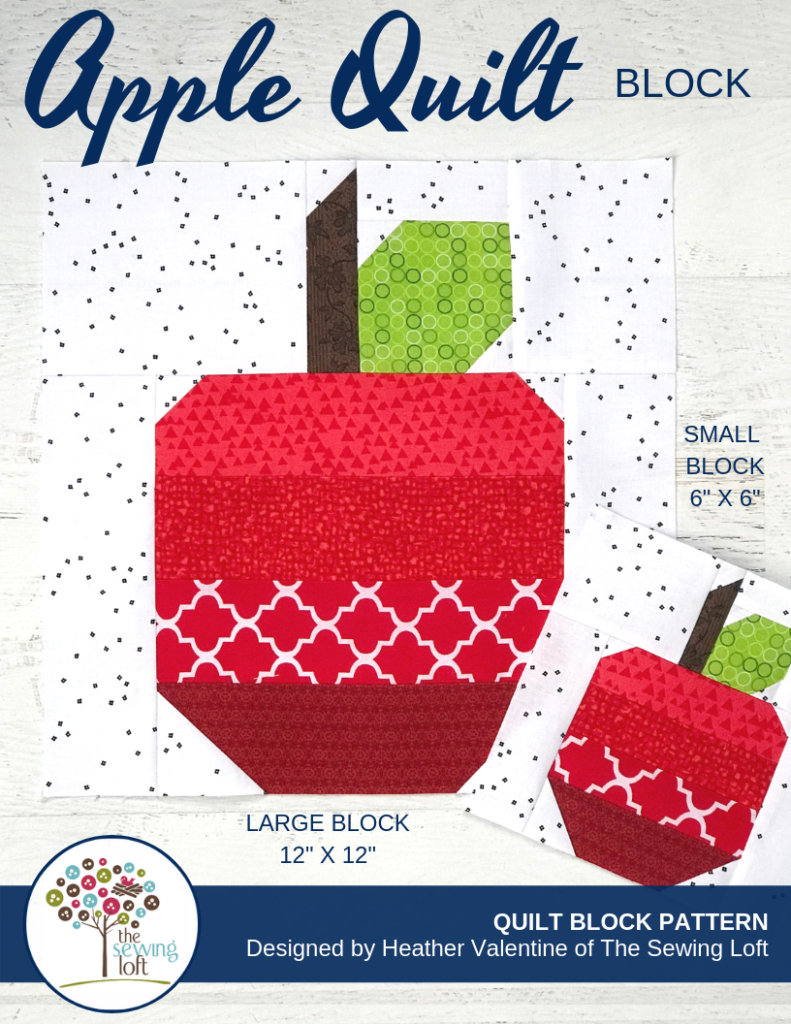 Learn quilting basics while creating whimsical quilt blocks like the Apple Quilt Quilt block in the Blocks 2 Quilt series.