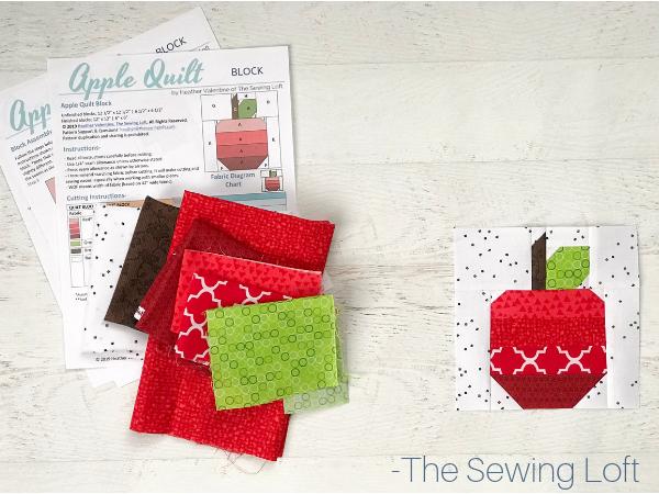 Apple Quilt Block Pattern   The Sewing Loft