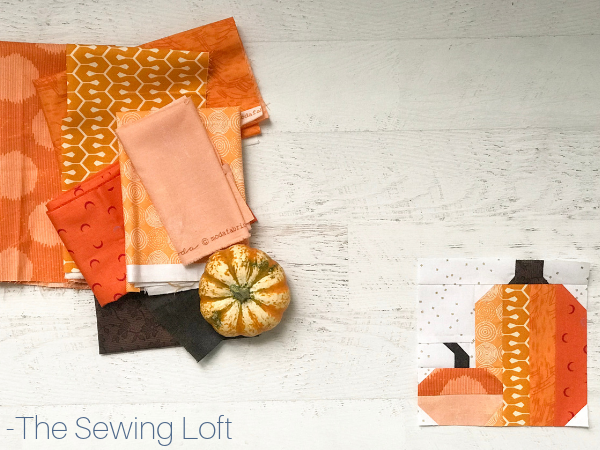 Pretty Pumpkins Quilt block available in 2 sizes by The Sewing Loft