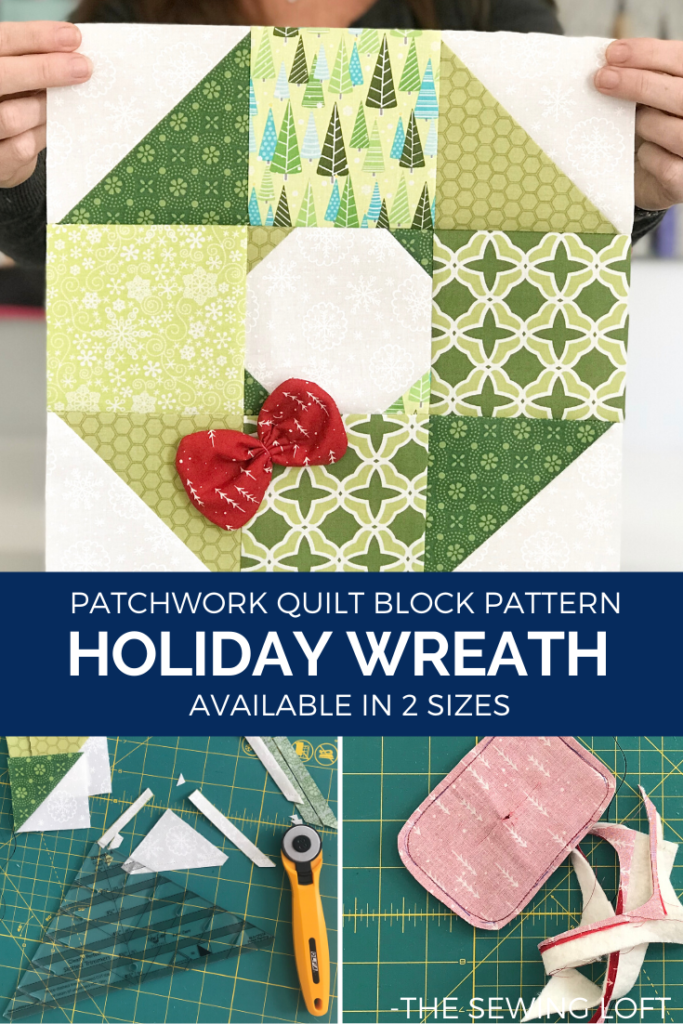 Add some festive cheer to your quilts with this easy to make, scrap friendly Holiday Wreath Quilt Pattern available in 2 sizes. Includes a bonus bow embellishment detail.