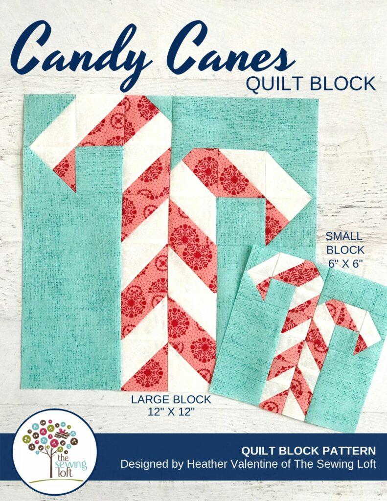 Add some festive cheer to your quilts with this easy to make, scrap friendly Candy Canes Quilt Block Pattern available in 2 sizes.