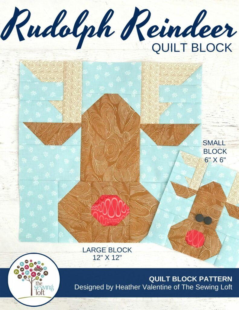 Rudolph Reindeer Quilt Block Pattern   The Sewing Loft