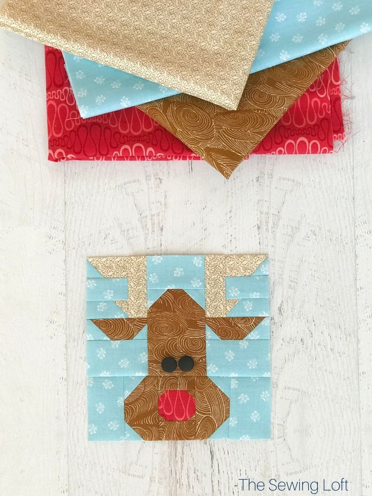 Keep the holiday spirit alive with this easy to make patchwork Rudolph Reindeer quilt block.