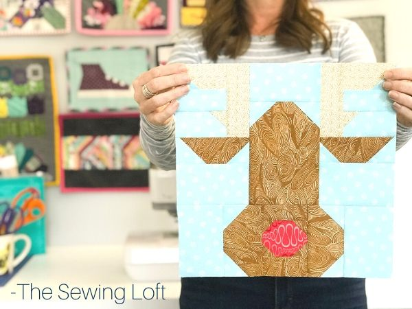 Keep the holiday spirit alive with this easy to make patchwork Rudolph the Reindeer quilt block.  The Sewing Loft