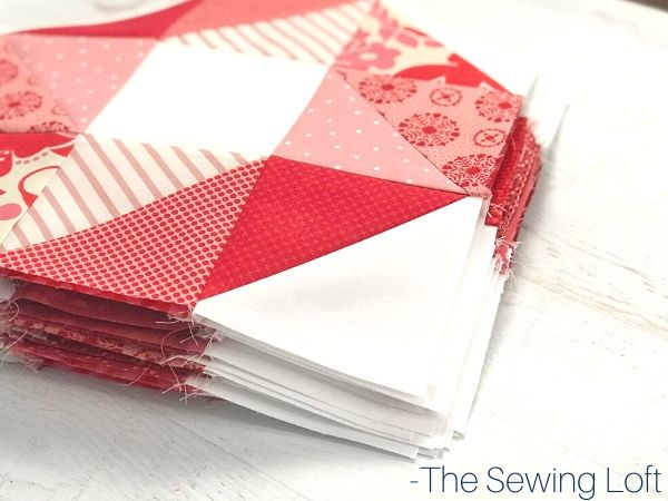 Pinwheel Star Quit Block | The Sewing Loft Pattern comes in 2 finished sizes. Perfect for scraps.
