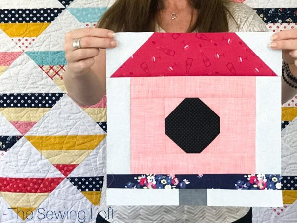 Turn your scraps into something fun with this colorful, easy to make Birdhouse quilt block. from The Sewing Loft. Easy to make and available in 2 sizes