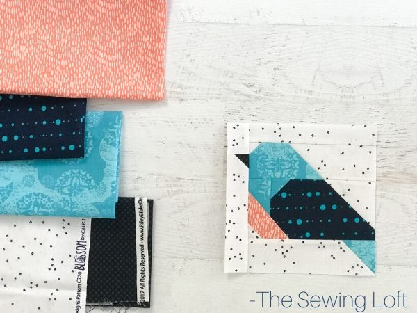 Stretch your quilting skills with the Pretty Bird Quilt Block. The patchwork design is easy to make and comes in 2 sizes. by The Sewing Loft.