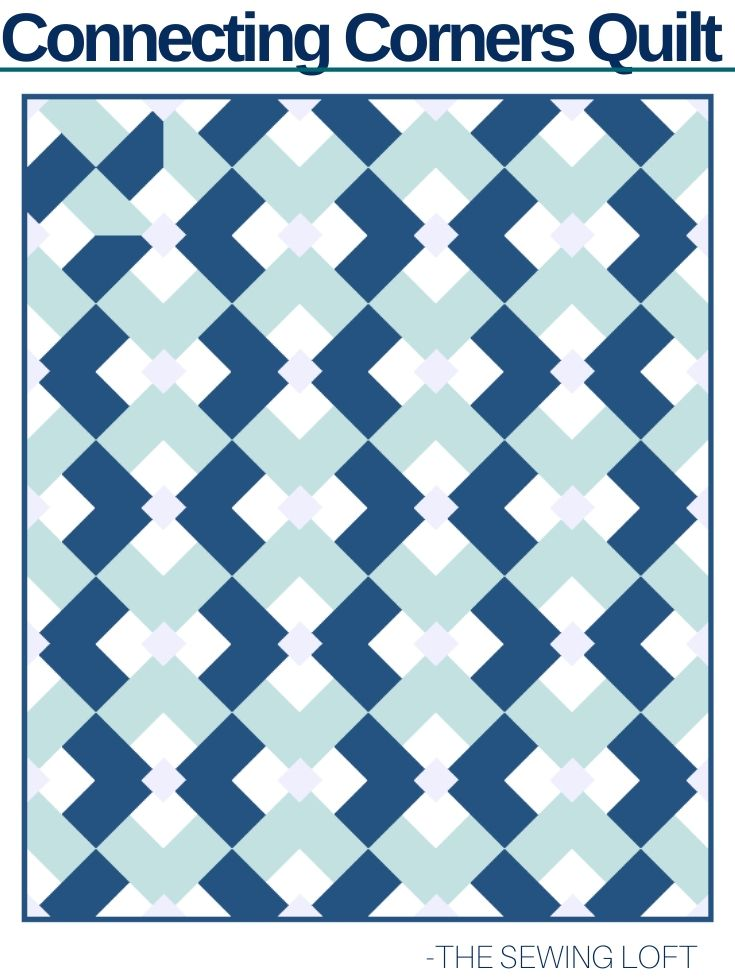 Make your fabrics the star of the show with this easy to make quilt block design- Connecting Corners by The Sewing Loft.