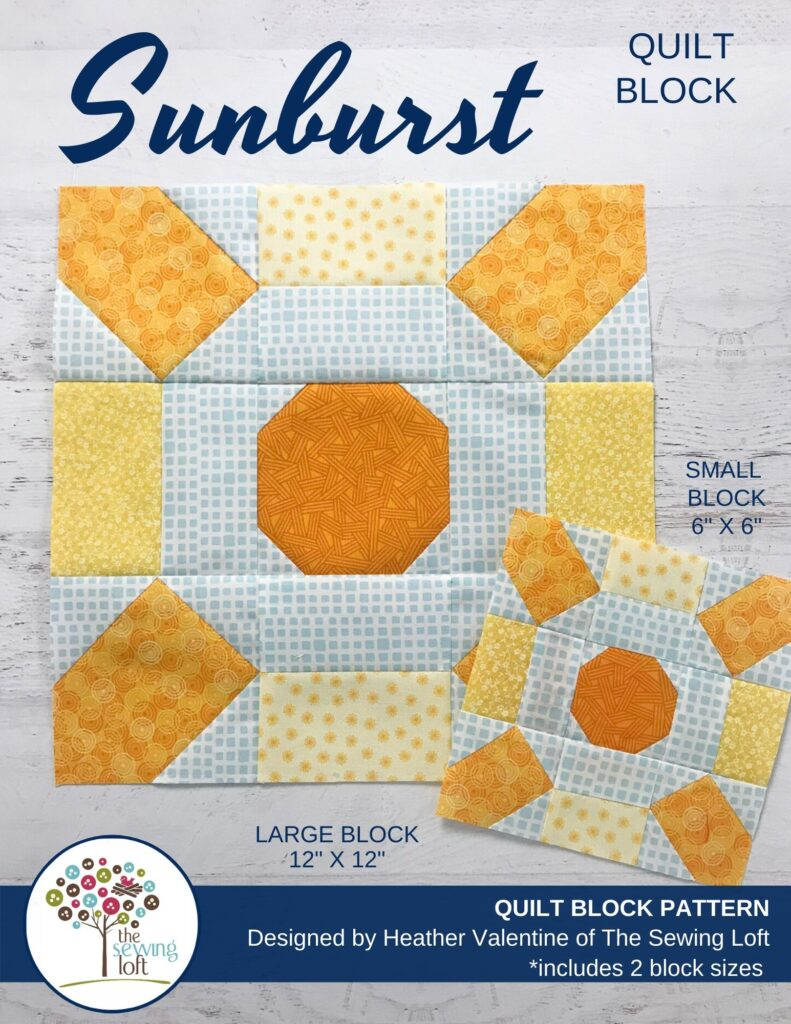 Sunburst Quilt Block Pattern by The Sewing Loft