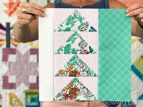 Perfect your flying geese technique with this easy to make pattern by The Sewing Loft. The Directional Quilt Block is available in 2 sizes, is easy to make and requires no special tools.