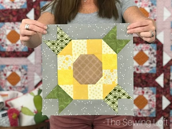 The Sunflower quilt block is made with a simple patchwork construction. It is a beginner friendly project and perfect for scraps.
