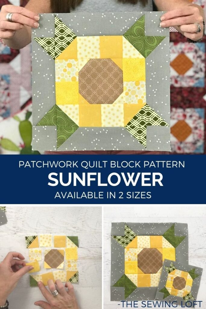 The Sunflower quilt block is available in 2 finished sizes and made with a simple patchwork construction. It is a beginner friendly project and perfect for scraps.