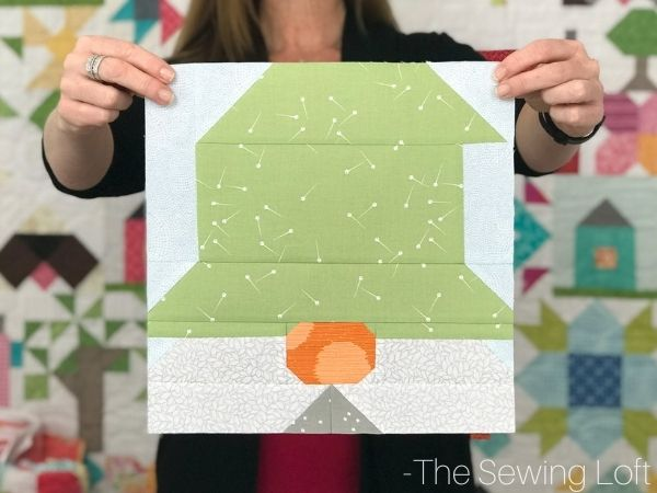 Gnome Quilt Block Pattern by The Sewing Loft. Easy to make, patchwork construction, and instructions for 2 finished sizes.