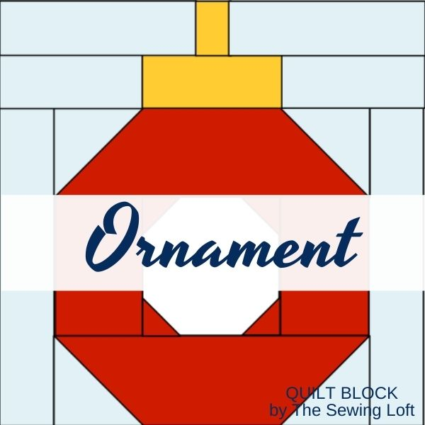 The Holiday Ornament quilt block is made with a patchwork construction and is easy to make. Available in 2 sizes and perfect for fussy cutting.