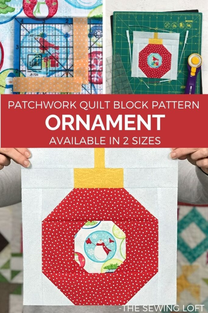 Create one of a kind holiday quilts with the easy to make Ornament quilt block pattern.