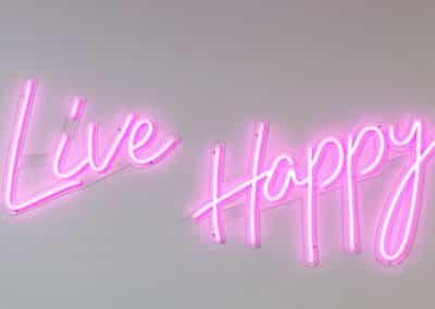 live happy neon sign