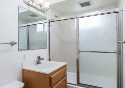 Bathroom with sink, shower, and tub