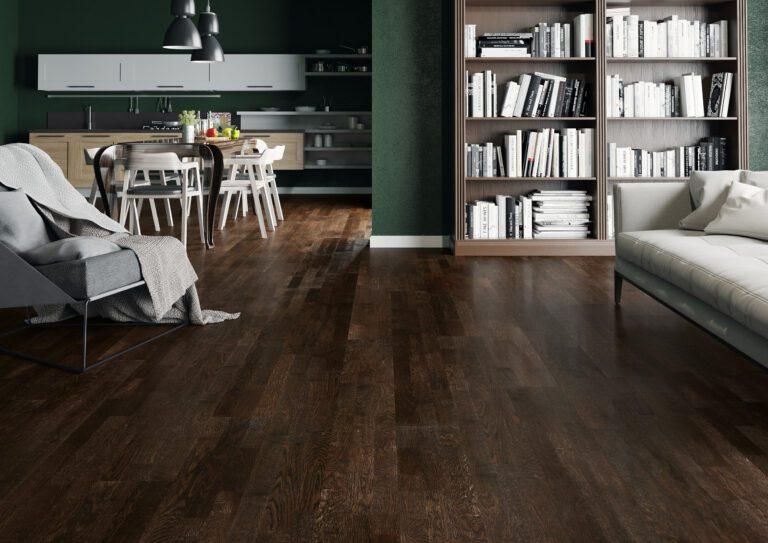 Dark wood flooring