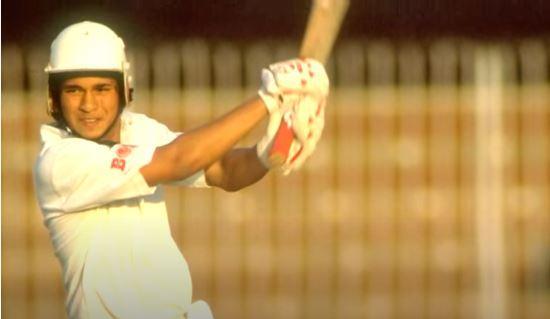 Sachin smashing Abdul Quadir for 28 runs in an over