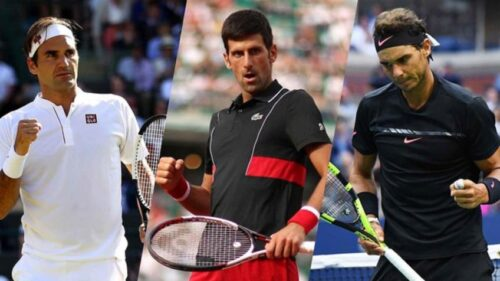 Roger Federer, Novak Djokovic and Rafael Nadal, all three with rackets in hand