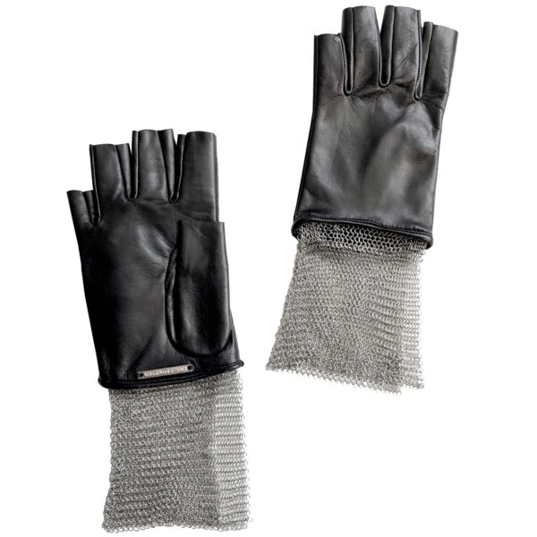Lambskin fingerless leather glove with chain mesh