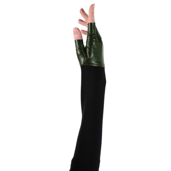 fingerless leather cashmere