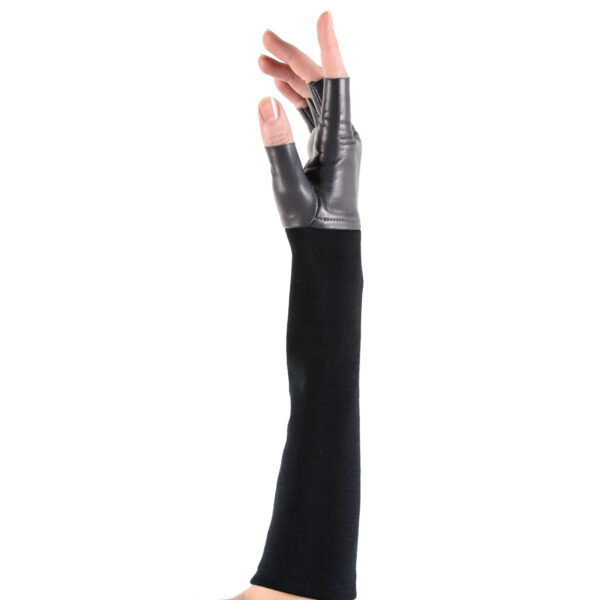 fingerless leather and cashmere gloves