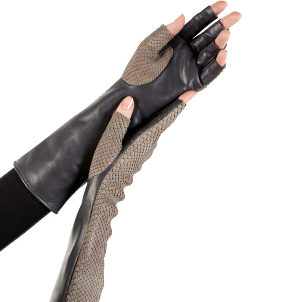 grey fingerless python and leather gloves
