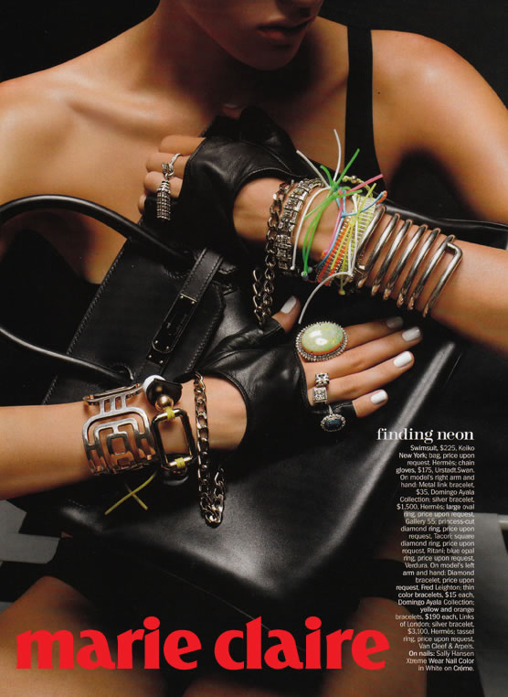 marie claire magazine cropped chain gloves