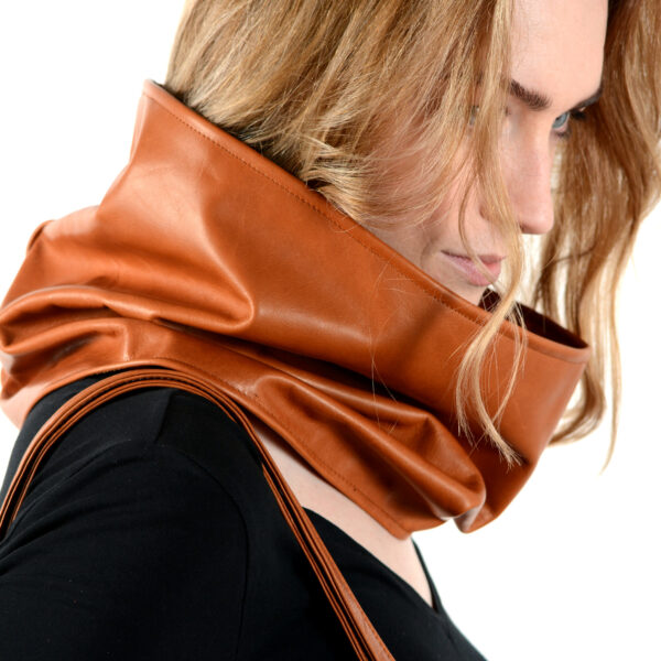 leather and cashmere circular scarf cognac