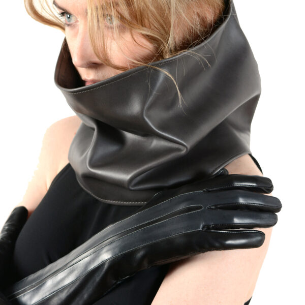 leather and cashmere circular scarf grey