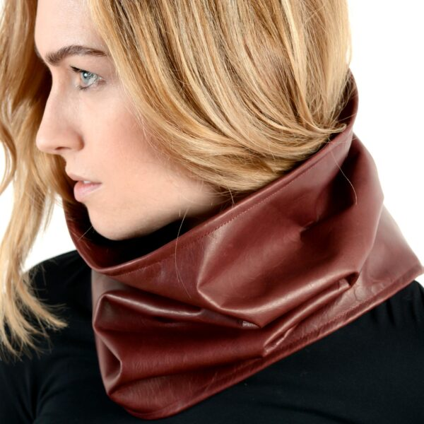 leather and cashmere circular scarf burgundy