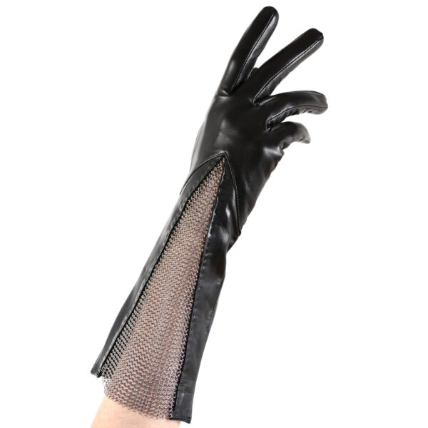 leather chain mesh gusset gloves black