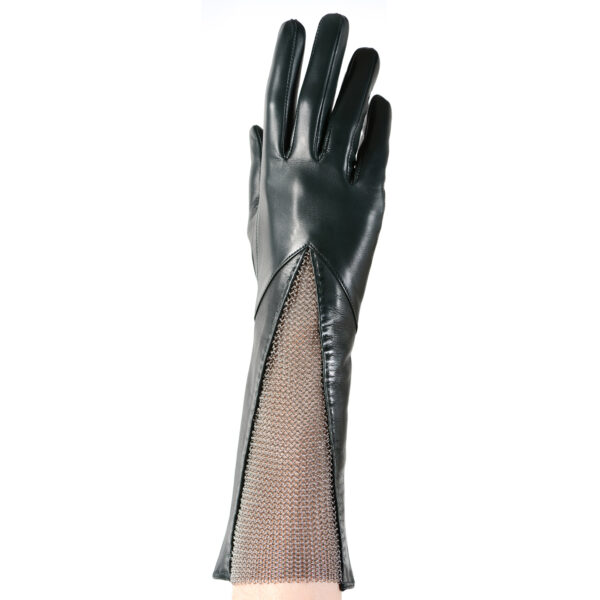 leather chain mesh gusset gloves evergreen