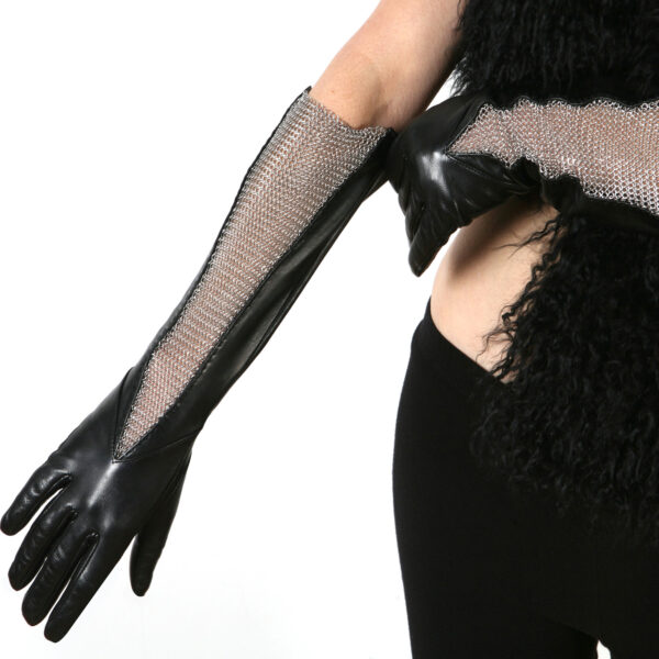 leather chain mesh gusset gloves