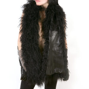 long mongolian fur leather scarf