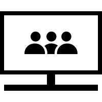 Link Graphic of a Laptop with video meeting