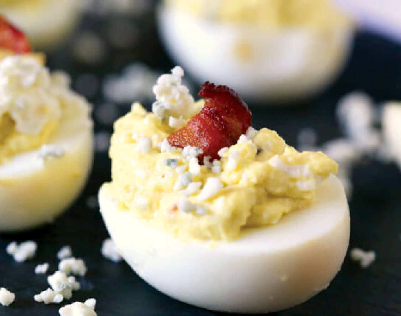Bacon Blue Cheese Deviled Eggs (6 servings)