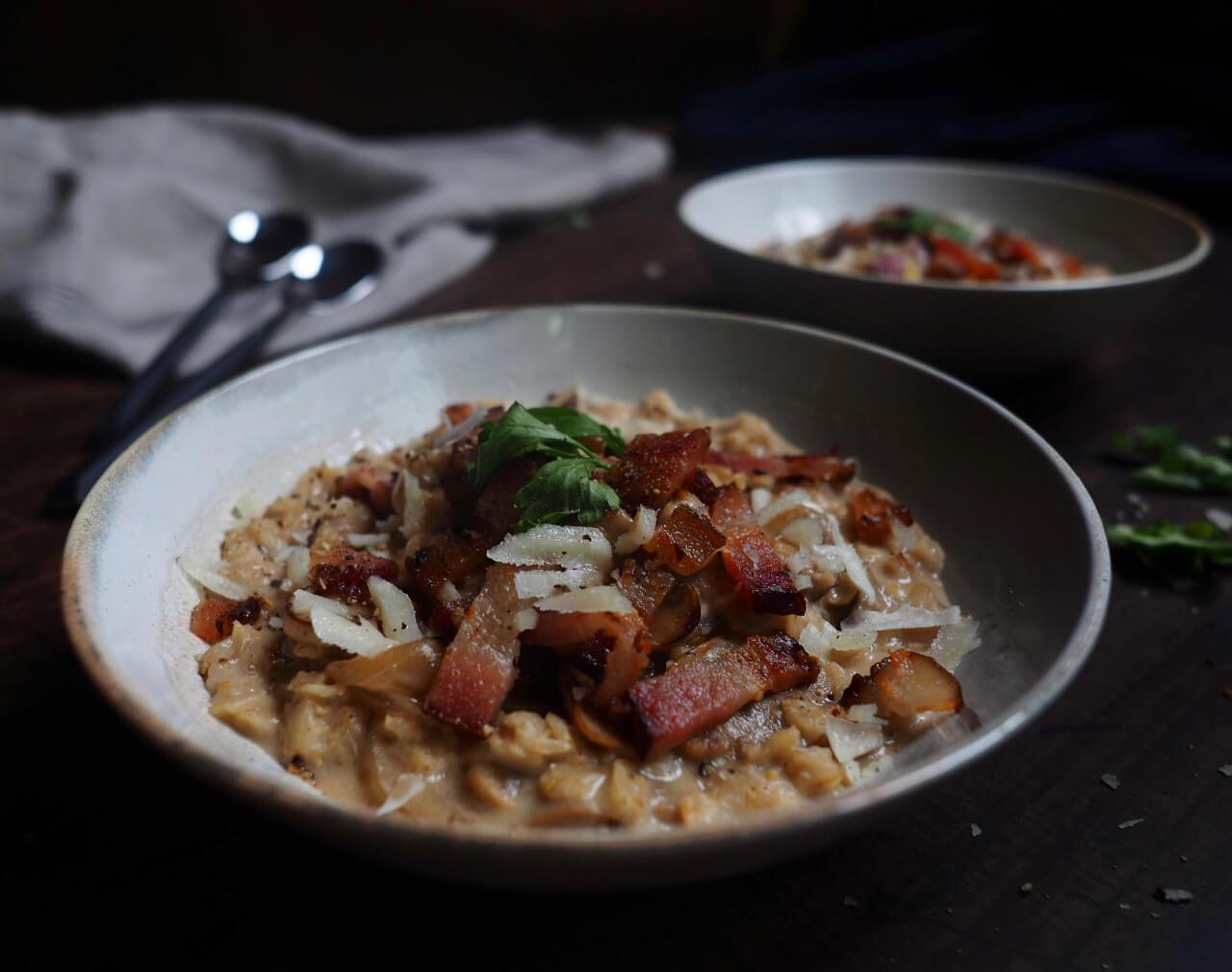Bacon and Mushroom Oatmeal Risotto