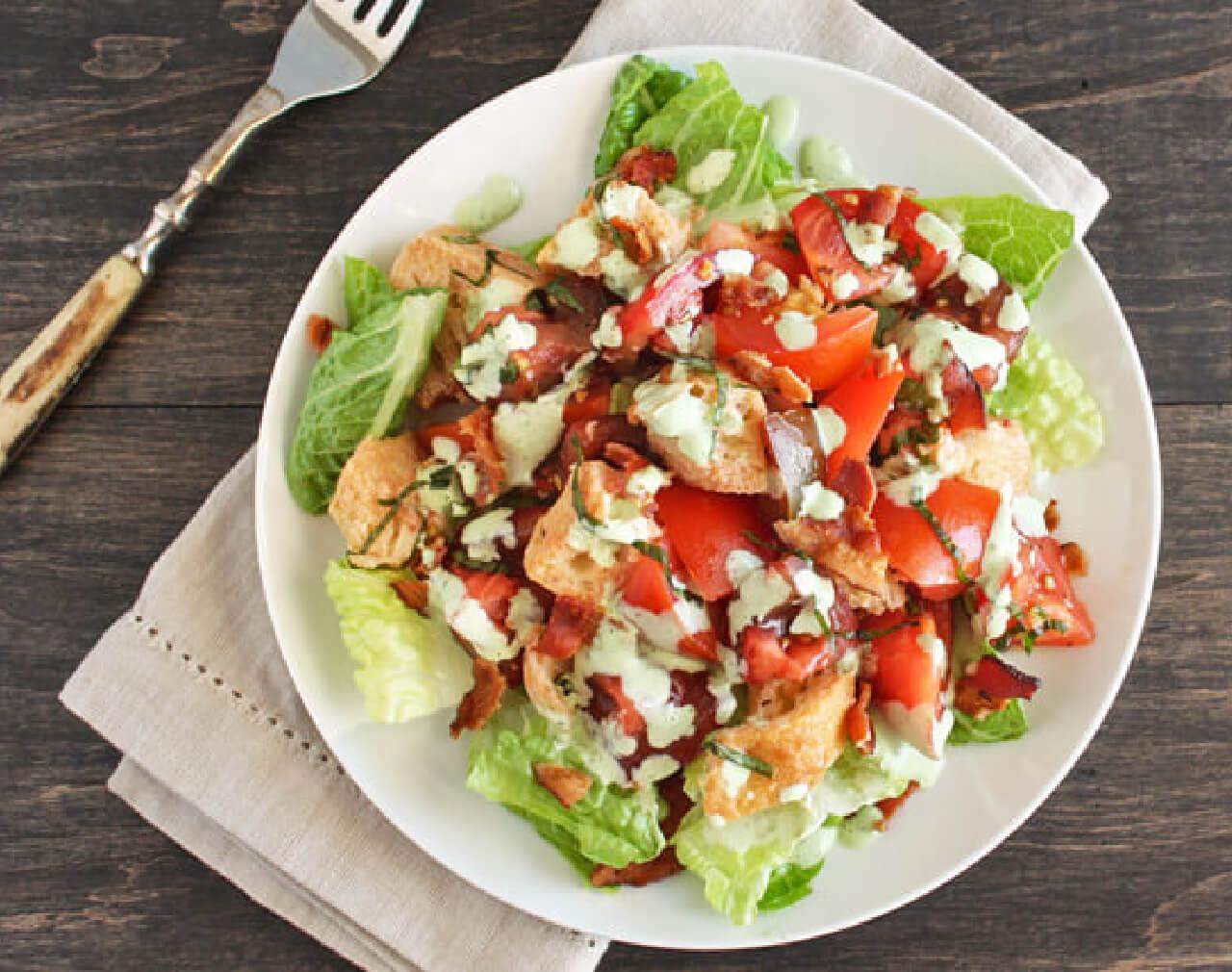 BLT Panzanella Salad with Basil Dressing